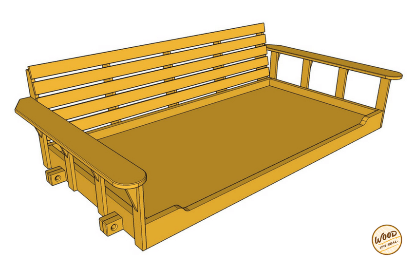 Southern Yellow Pine Porch Bed Swing from Wood. It's Real.