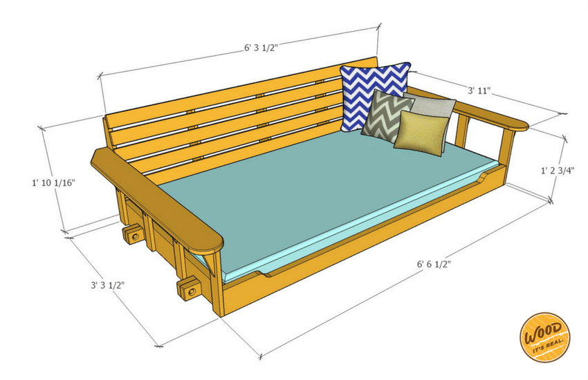 Southern Yellow Pine Porch Bed Swing From Wood. Itu0027s Real.