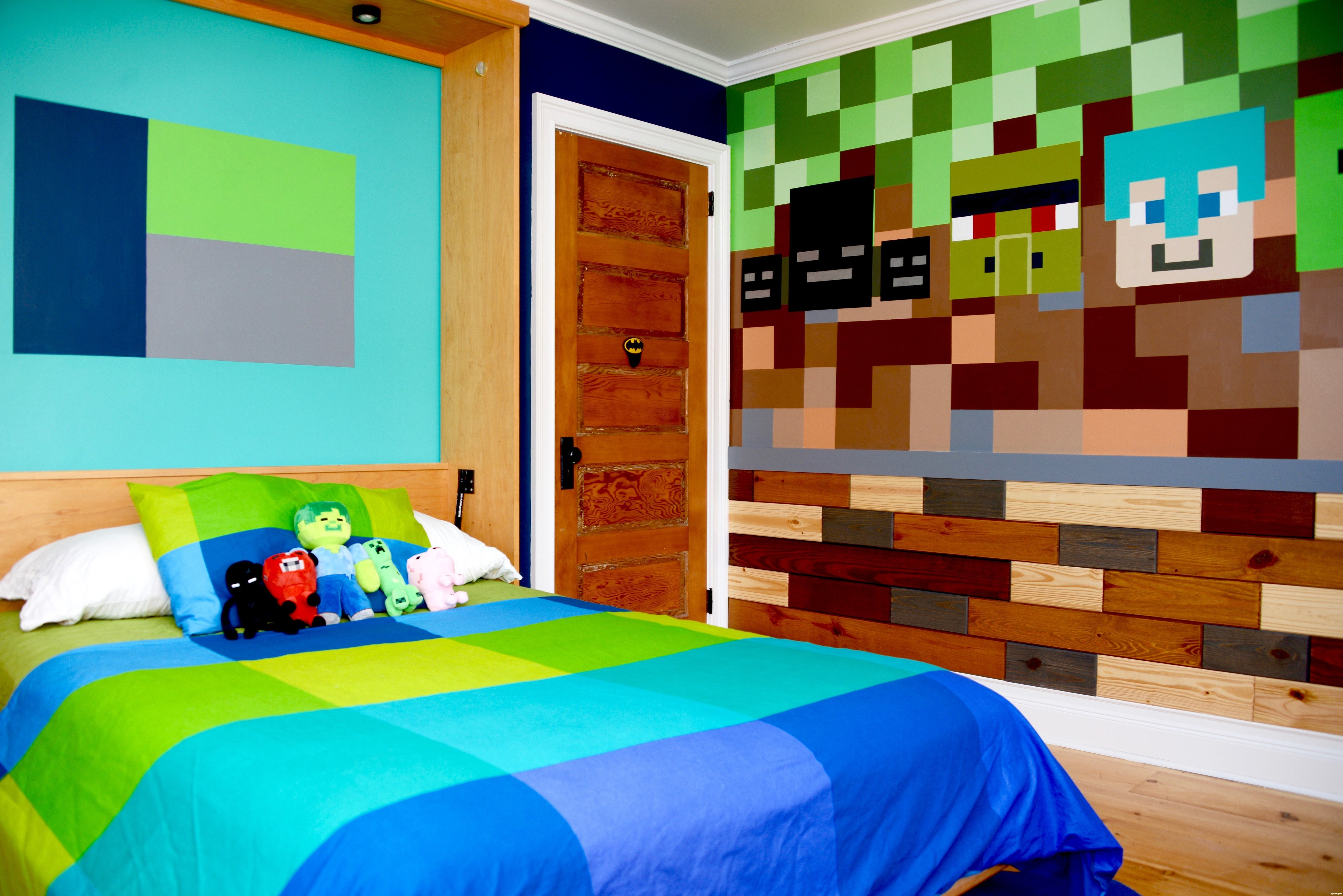 How syp brought a minecraft inspired bedroom to life for Bedroom designs minecraft