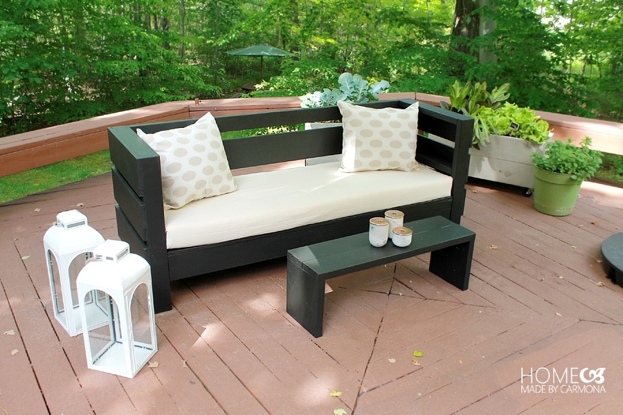 Learn how to build an outdoor sofa and coffee table wood it 39 s real wood it 39 s real for Patio furniture designs plans