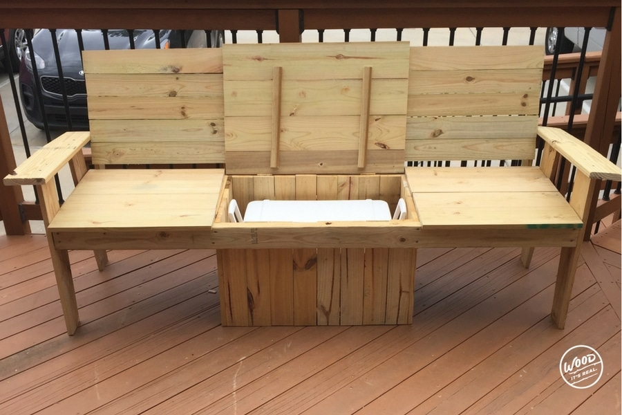 Southern Yellow Pine Cooler Bench from Wood. It's Real.