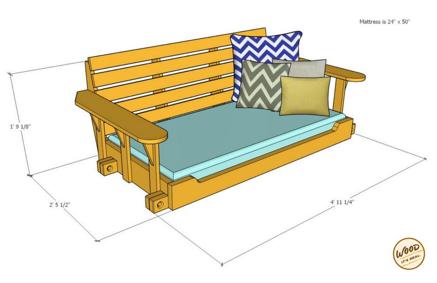 25% Smaller Porch Bed Swing from Wood. It's Real.