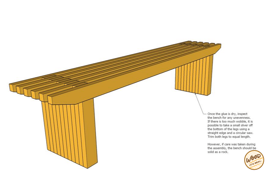 Southern Yellow Pine modern bench from Wood. It's Real.